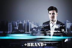 Businessman& x27; торс s с голубым пирофакелом Стоковая Фотография RF
