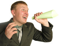 Businessman yelling stock image