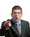 Businessman Yelling. Upset businessman yelling on white background focus on face Stock Image