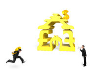Businessman yelling another carrying USD running for money stack Royalty Free Stock Image