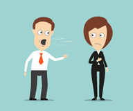 Businessman yelling at crying female colleague. Aggressive businessman yelling at sad crying female colleague for business concept design. Cartoon flat style Stock Photos