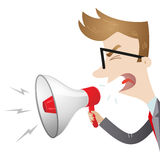 Businessman yelling into megaphone (close-up). Vector illustration of an angry cartoon businessman with clenched fist screaming into a megaphone (close-up Royalty Free Stock Photo