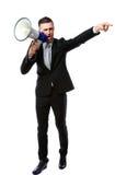 Businessman yelling through megaphone. Full length portrait of businessman yelling through megaphone isolated on white background Stock Photos
