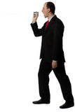 Businessman yelling through an oldschool can phone Stock Photography