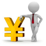 Businessman and yen currency symbol Stock Images