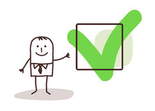 Businessman & YES sign. Illustration royalty free illustration