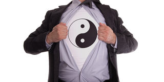Businessman with yin and yang t-shirt Royalty Free Stock Image