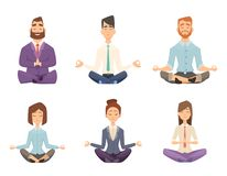 Businessman yoga. Man and woman relaxing meditation at workspace table vector concept cartoon illustration royalty free illustration