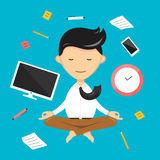 Businessman yoga mediation. relaxation in sky. Flat illustration Stock Photography