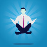 Businessman in Yoga Position. Calm Relax In Business. Vector illustration. Calm relax spiritual zen balance in business concept. Businessman doing yoga trying to Royalty Free Stock Image