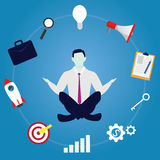 Businessman in Yoga Position. Calm Relax In Business. Vector illustration. Calm relax spiritual zen balance in business concept. Businessman doing yoga trying to stock illustration