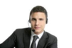 Businessman young with headphones portrait Royalty Free Stock Images