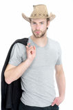 Businessman or young man wearing cowboy hat and black jacket Stock Image