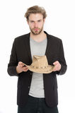 Businessman or young man wearing cowboy hat and black jacket Royalty Free Stock Photo