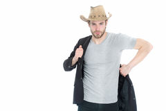 Businessman or young man wearing cowboy hat and black jacket Stock Photos