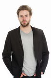 Businessman or young man wearing grey shirt and black jacket Stock Image