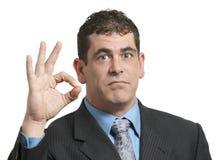Businessman Zero. Businessman gesturing zero with hands on white stock photos