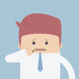 Businessman zipped his mouth, Inarticulate concept. VECTOR, EPS10 Stock Photo