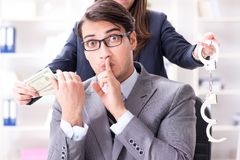 Businessmanbeing offered bribe for breaking law royalty free stock image