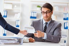 Businessmanbeing offered bribe for breaking law. Businessman being offered bribe for breaking law Royalty Free Stock Image