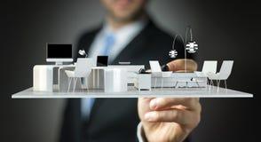 Businessmank die wit 3D teruggevend flatplan trekken Royalty-vrije Stock Fotografie