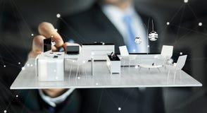 Businessmank die wit 3D teruggevend flatplan trekken Royalty-vrije Stock Foto