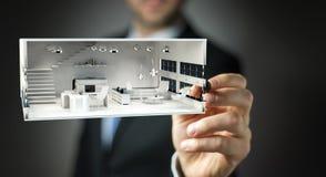 Businessmank die wit 3D teruggevend flatplan trekken Stock Foto's