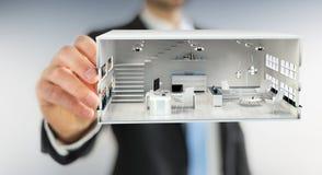 Businessmank die wit 3D teruggevend flatplan trekken Royalty-vrije Stock Afbeelding