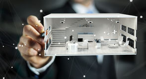 Businessmank drawing white 3D rendering apartment plan. Businessman on blurred background drawing white 3D rendering apartment plan Stock Image