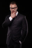 Businessmanman in black suit and glasses Stock Photo