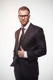 Businessmanman in black suit and glasses Royalty Free Stock Photography