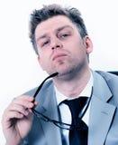 Businessmann bardzo koncentrujący przy biurem Zdjęcie Stock
