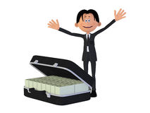 Businessmann with a case full of money, isolated on the white ba. 3d illustration of a lottery winner Royalty Free Stock Image