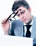 Businessmann concentrated at office Stock Photo