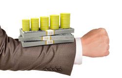 Businessmans arm with money Royalty Free Stock Photography
