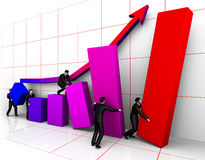 Businessmans bilding graph Stock Image