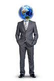 Businessmans body with Earth instead head Stock Photo