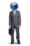 Businessmans body with Earth instead head on white Royalty Free Stock Photography