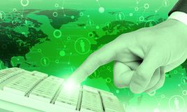 Businessmans finger pressing keyboard Royalty Free Stock Images