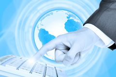 Businessmans finger touching keyboard Stock Images