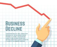 Businessmans hand drawing decrease graph. Profit decline and downward sales business vector concept. Business graph and chart, finance decrease diagram Stock Photography