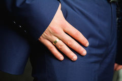 Businessmans hand in his pockets Royalty Free Stock Photo
