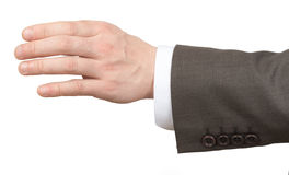 Businessmans hand holding empty space on white Stock Images