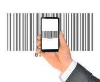 Businessmans hand holding smartphone Stock Photo