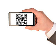 Businessmans hand holding smartphone on white Stock Photo