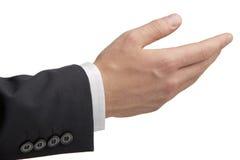 Businessmans hand med erbjudande gest Royaltyfri Foto