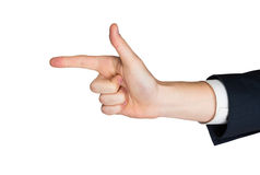 Businessmans hand pointing in suit jacket Stock Photos