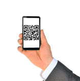 Businessmans hand showing smartphone Royalty Free Stock Photography