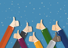 Businessmans hands hold thumbs up. Stock Photography