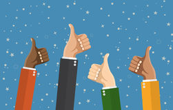 Businessmans hands hold thumbs up. Vector illustration in flat design. Financials, work motivation Stock Photo
